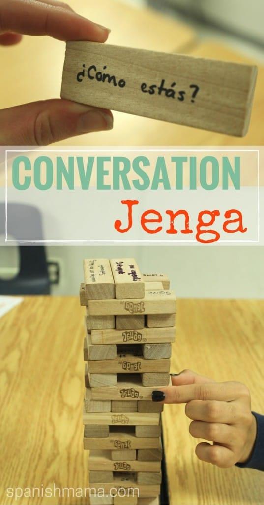 Conversation jenga for Spanish class