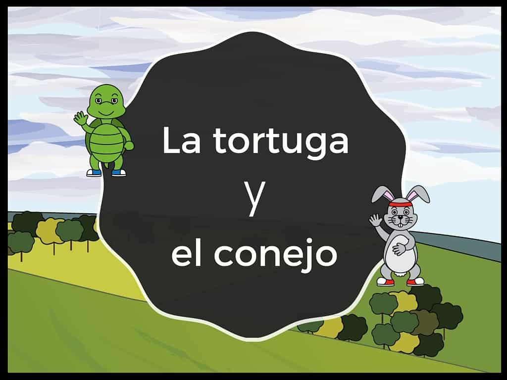 La tortuga y el conejo, a fable told in novice-low Spanish for beginners.