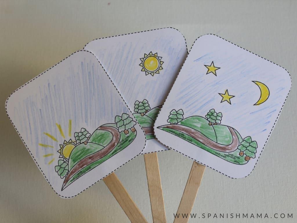 Buenos días greeting cards for preschool Spanish lesson
