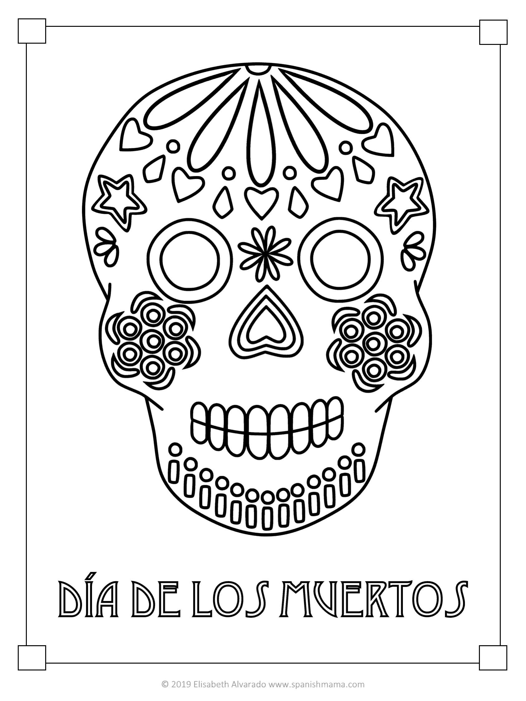 Sugar Skull Coloring Pages And Masks For Dia De Muertos