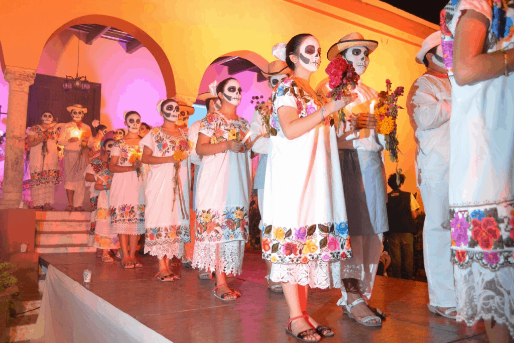 day of the dead procession with calaveras
