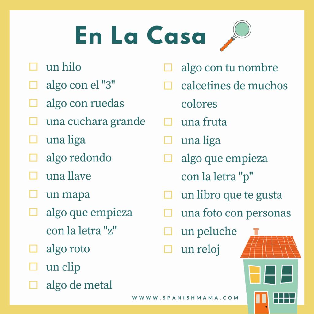 house scavenger hunt in spanish