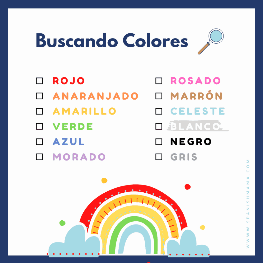 spanish scavenger hunt colors