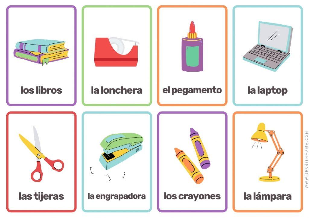 school Spanish flashcards for kids