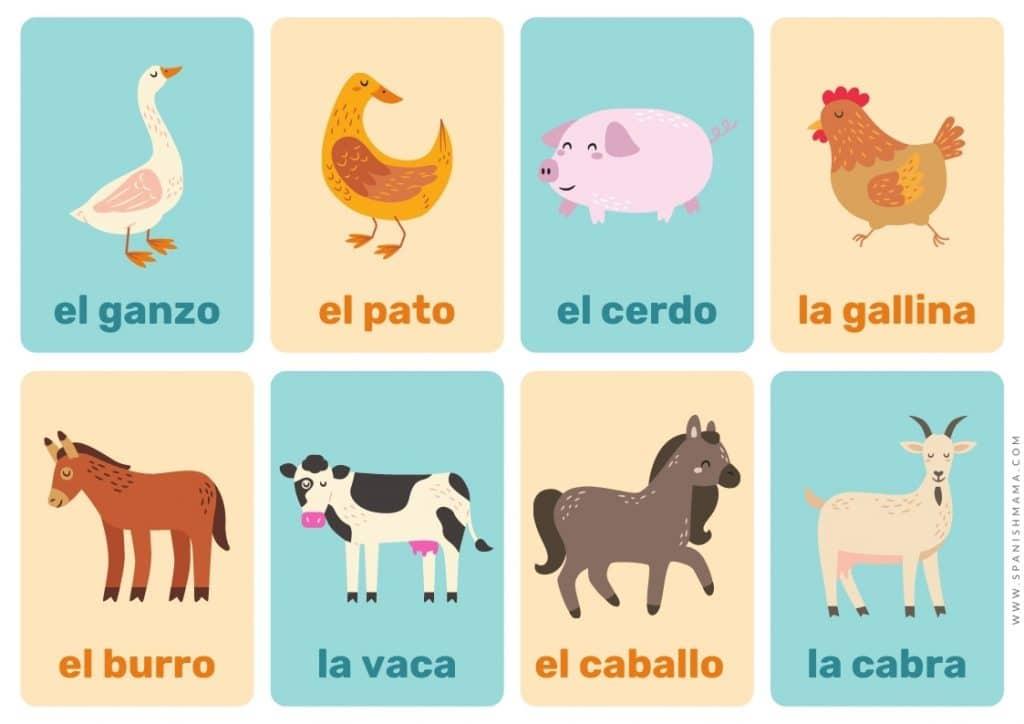 animals Spanish flashcards for kids