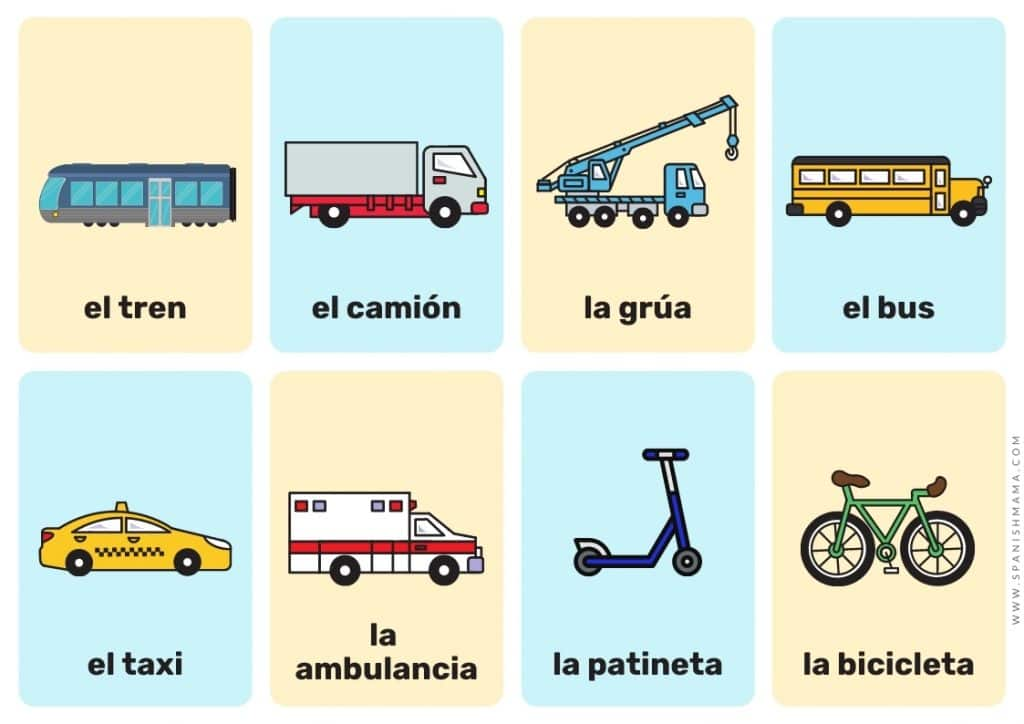 vehicles Spanish flashcards for kids