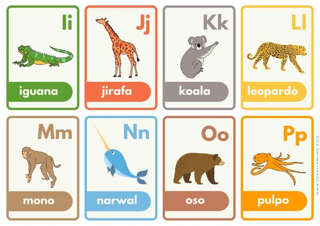 alphabet Spanish flashcards for kids